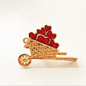Avon Wheel Barrow Basket of Hearts Brooch
